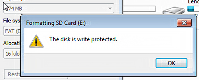 The Disk Is Write-Protected